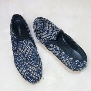 Shoes - Blue Black Woven Canvas Espadrille Loafers 7 Shoes